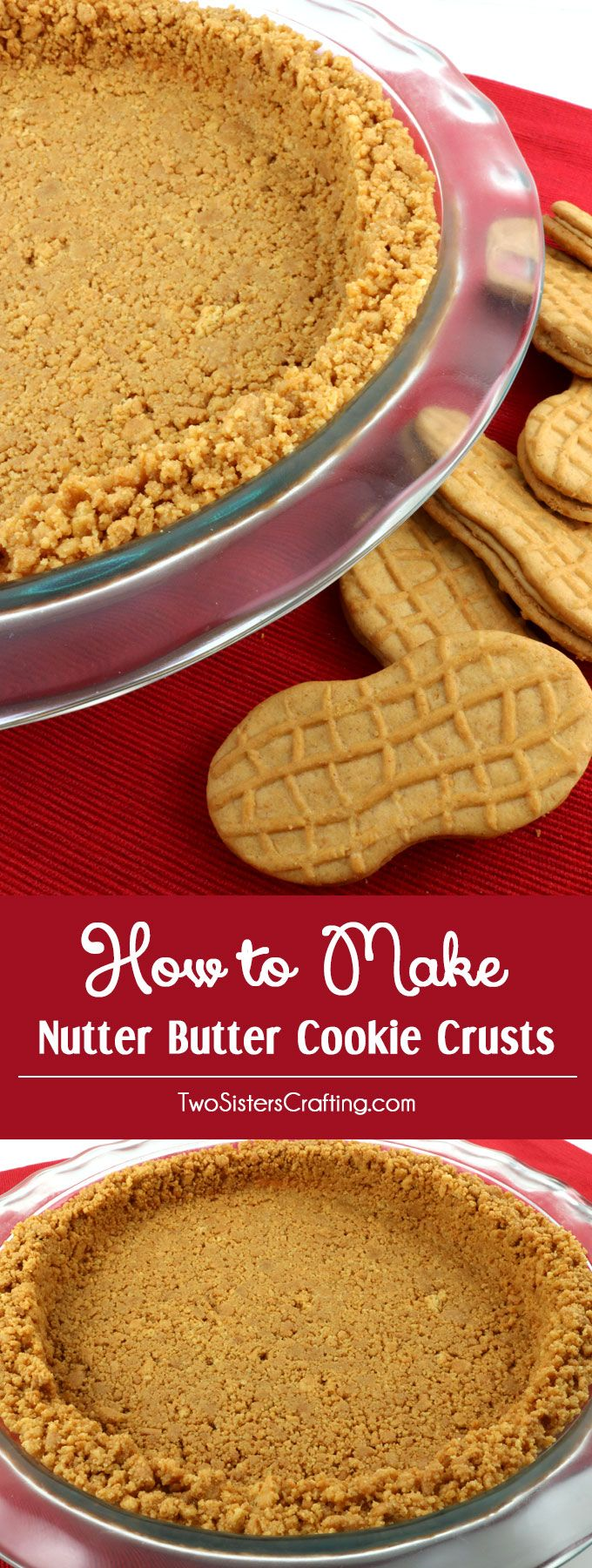 Cookie Crusts that are super easy to make, can be bake or no-bake and taste better than anything you can buy in the store. This is the Best Nutter Butter Crust recipe that you are going to find. Pin this Perfect Nutter Butter Cookie Crust recipe for later and follow us for more pie crust recipe ideas.