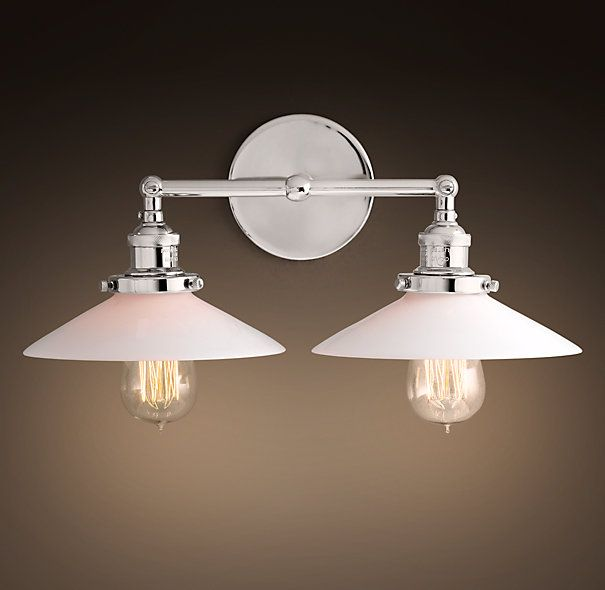20th C. Factory Filament Milk Glass Double Sconce - Polished Nickel - Two Double Fixtures at ...