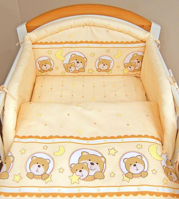 come cucire lenzuolino x culla  | Peach happy teddy 3 pieces bedding set Cot bed (70cm x 140cm)