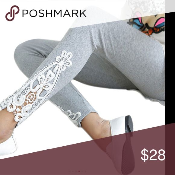 JUST IN ‼️ Crochet appliqué leggings Cotton Lycra leggings with appliqué at ankle heather grey with white crochet. One size fits most 0-12 Pants Leggings