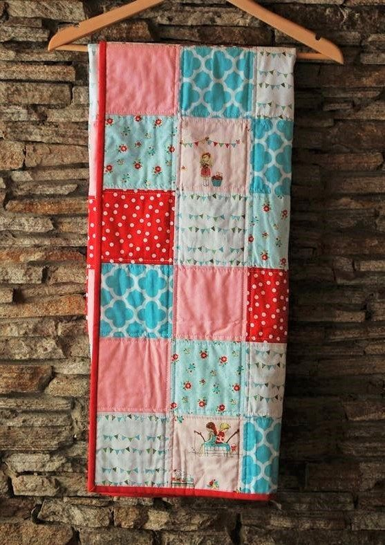 Modern Baby Quilt Baby Girl Pink Red and Aqua Quilt by ModMooi