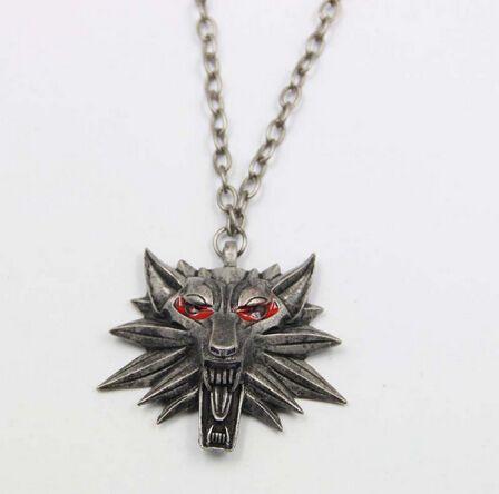 2016 Hot Sale Pendant Wizard Witcher 3 Medallion Pendant Necklace Wolf Head Necklace U Pick Color Halloween Necklace & Pendants