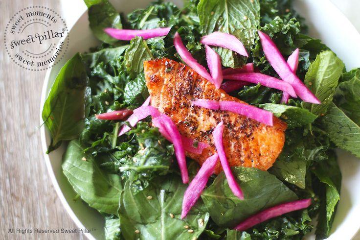 Refreshing Sumac Salmon Kale Salad with Tahini Vinaigrette | Sweet Pillar