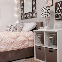 Simple white wall color interior bedroom themed for the teen room decor with beautiful string lamp wall ornament decoration complete with the square shaped black metal materials mirror frame design and functional bedside table ideas that have black and white pattern table lamps complete with the storage shelving space also brilliant bed furniture that have soft beige color scheme bedding complete with the white zig zag pattern pillows
