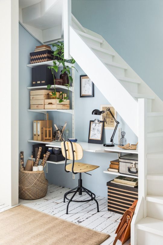 Workspace under the stairs by IKEA                                                                                                                                                      More