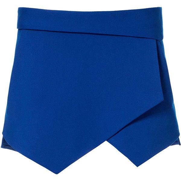 Zara Mini Skort (€44) ❤ liked on Polyvore featuring skirts, mini skirts, shorts, bottoms, saias, bluish, blue mini skirt, blue skirt, zara skirts and mini skirt