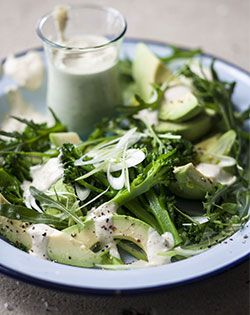 Banting friendly salad recipe for Easter - Broccoli and Avocado Salad with Roasted Almond Dressing