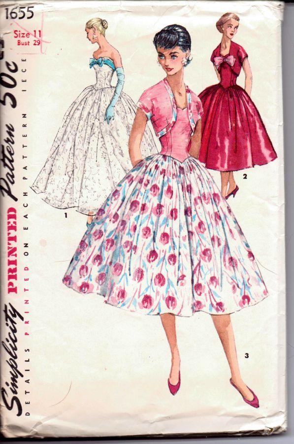 Vintage 1950's Junior Misses' full skirt strapless evening gown or cocktail dress & jacket - Simplicity 1655