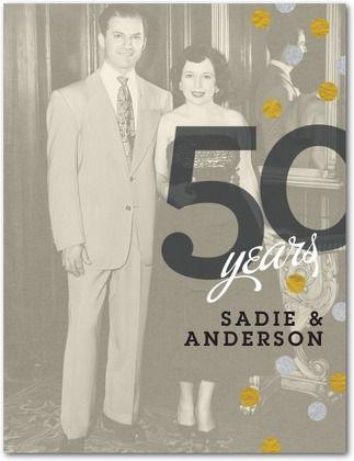 Anniversary Party Invitations Postcards Confetti Delight - Front : Goldenrod