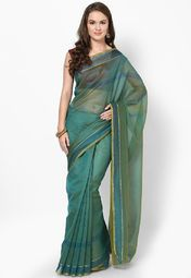 Green Solid Saree