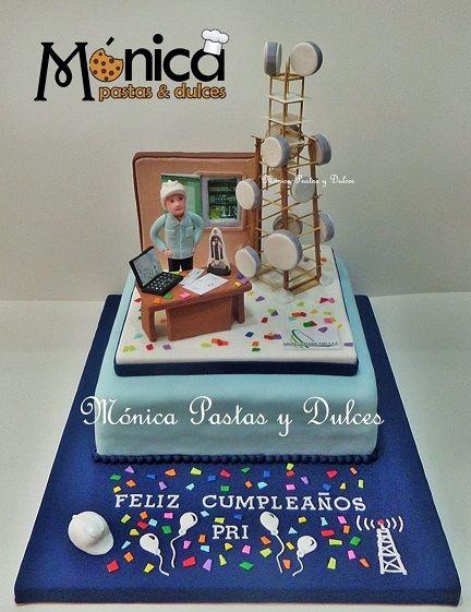 TORTA INGENIERIA EN TELECOMUNICACIONES de Monica Pastas y Dulces
