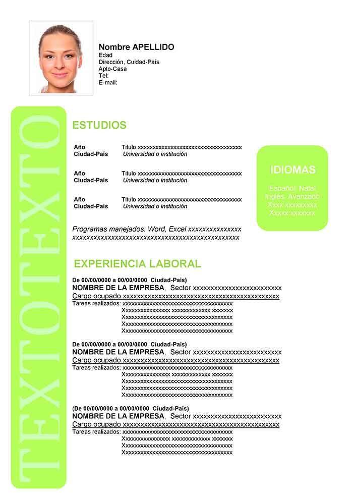Formato De Curriculum Vitae En Espanol Con Imagenes Modelos De
