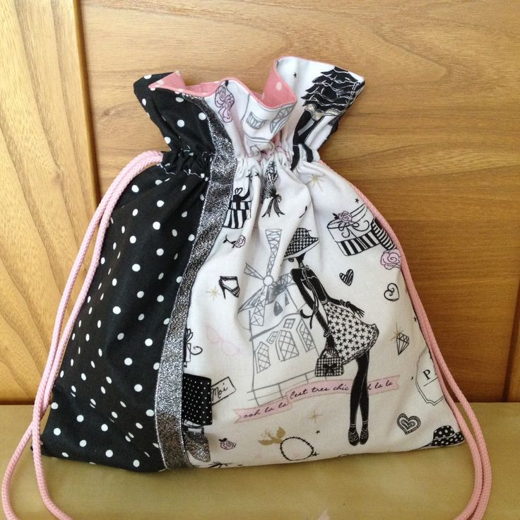 """Pochon pour lingerie rétro et chic """"la parisienne"""" N°3 et tissu à pois : Textiles et tapis par nymeria-creation"""