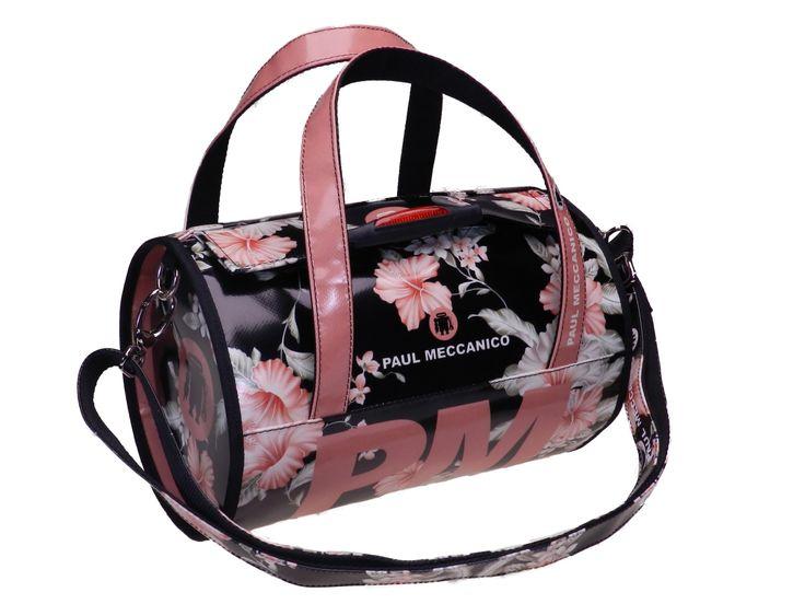 Borsa donna floreale nero e rosa con tracolla regolabile. Realizzata in telone camion.
