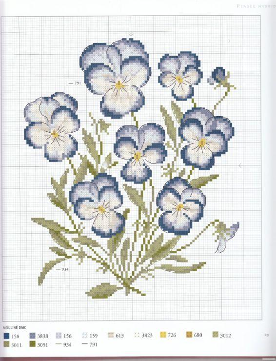 0 point de croix grille et couleurs de fils fleurs pensées bleues