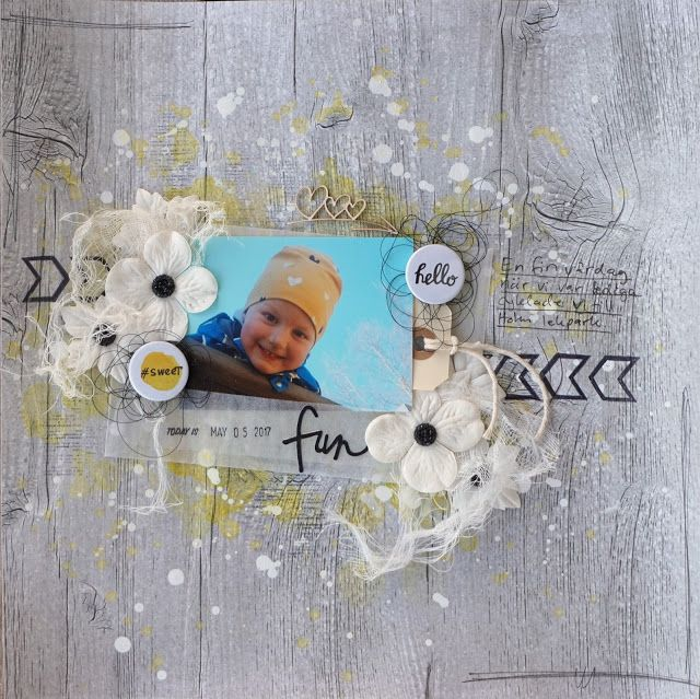 Sara Kronqvist - Saras pysselblogg: Fun   Scrapbook layout. Woodgrain paper and soft yellow and white to complement