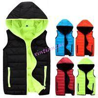 Mens Women Puffer Leisure Hooded Warm Vest Jacket Waist Coats Candy S-4XL Cotton