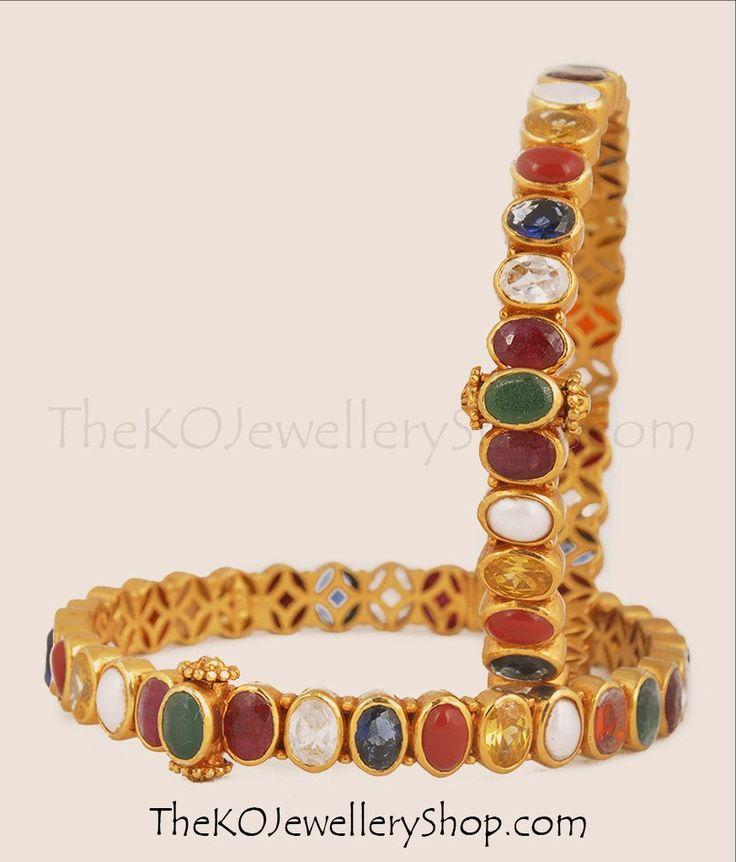 The Medha Silver Navratna Gemstone Bangles | The KO Jewellery Shop #silverkada #navarathnajewellery #bridaljewellery #gemstonebangles