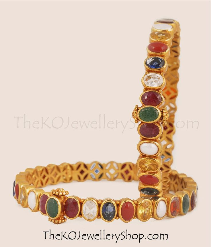 The Medha Silver Navratna Gemstone Bangles | The KO Jewellery Shop #silverkada #navarathnajewellery #bridaljewellery #gemstonebangles
