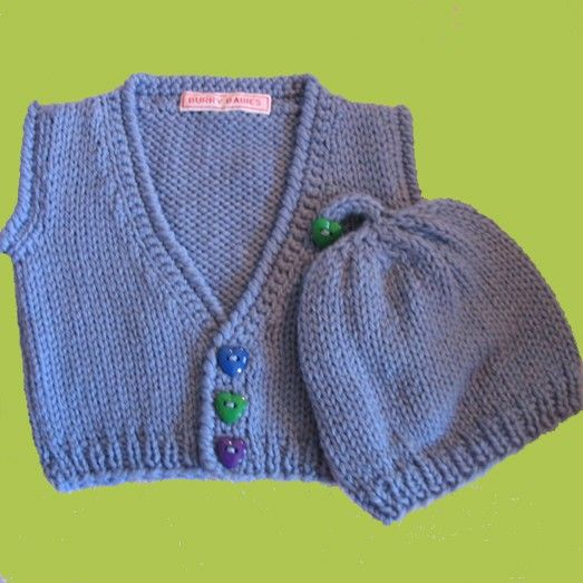 Baby Boy Valentine Knitted Sweater Set - Sweetheart Sweater and Hat - Blue Merino Wool