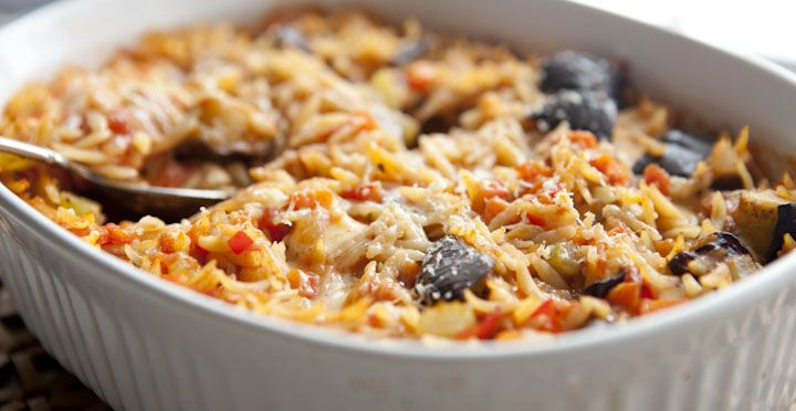 Eggplant Orzo - An easier take on eggplant parmesan. This eggplant orzo is easy to toss together and bakes into a delicious pasta casserole.