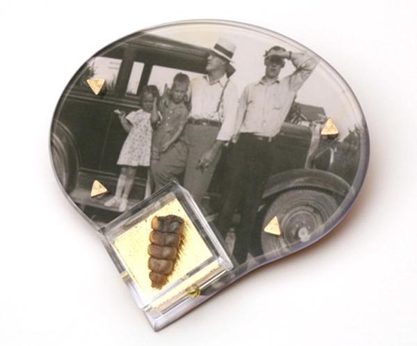 Nancy Worden, Grandpa's Visit, brooch, 2012, copper, silver, brass,