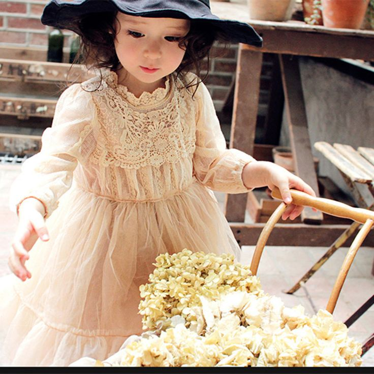 ==> [Free Shipping] Buy Best Spring New Korean Long Sleeve Prince Beige Wholesale Mesh Lovely Girls' Lace Elegant Show/Performance/Birthday Dress Online with LOWEST Price | 32807097978