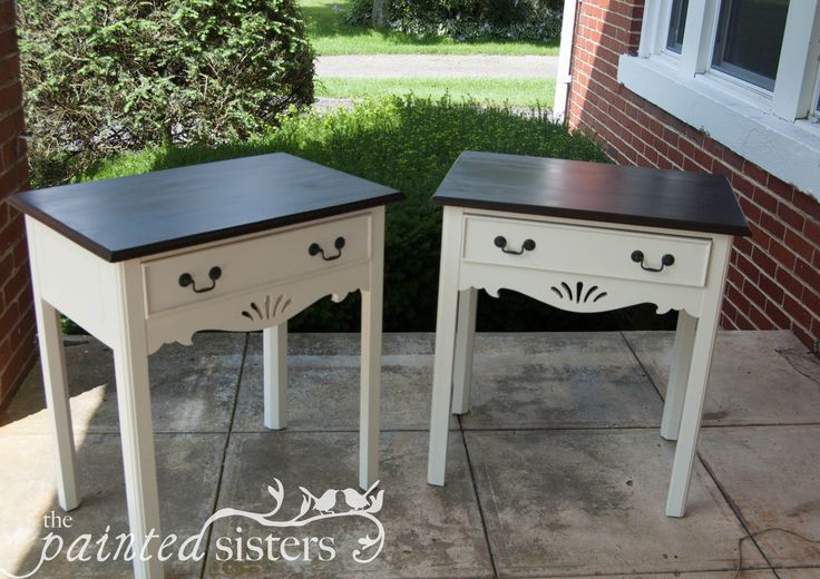 End Tables/bedside Tables With Dark Walnut Stained Tops