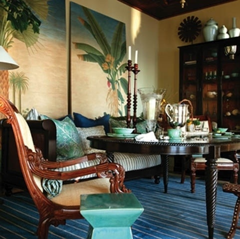 Informal dining tropical plantation colonial style for Tropical dining room ideas