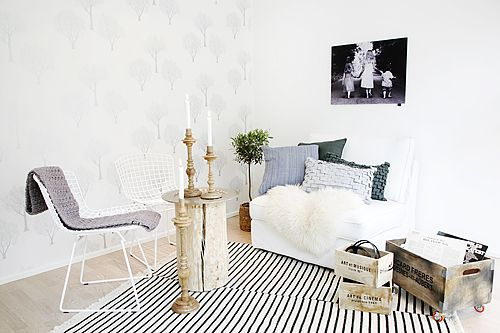 "TIKAU Stripe wool carpet and TIKAU ""Hook"" cushion covers looks casual and chic. Picture avd.fi"