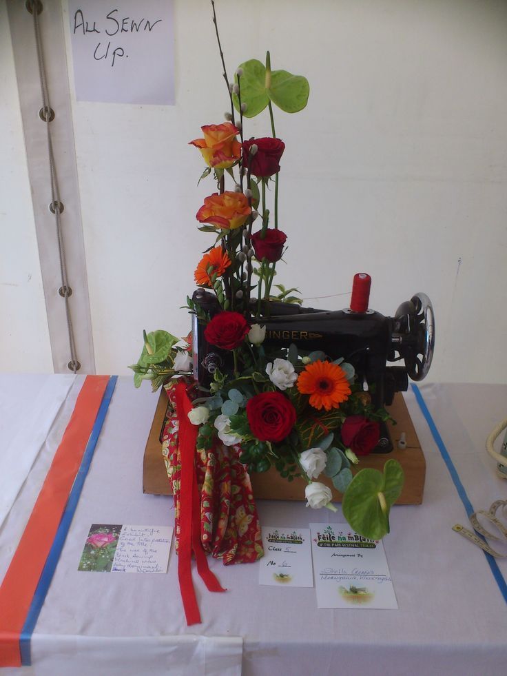 """Flower Arranging Competition entries on display in The Bloom Room """"ALL SEWN UP"""""""