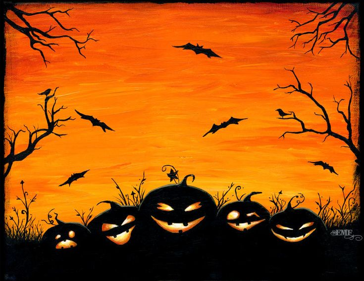 "Halloween art, ""Watchers in the Woods"" pumpkin digital art print. $20.00, via Etsy."