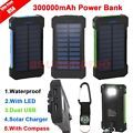 300000mAh Dual USB Portable Solar Battery Charger Solar Power Bank For Phone EO