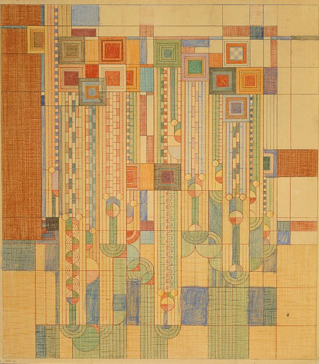 Frank Lloyd Wright, 'Saguaro Forms and Cactus Flowers.' 1955. Pencil and color pencil on tracing paper. The Best Design Books of 2012 | Brain Pickings