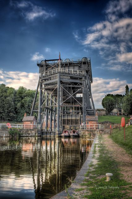 The Anderton Boat Lift is a two caisson lift lock near the village of Anderton, Cheshire