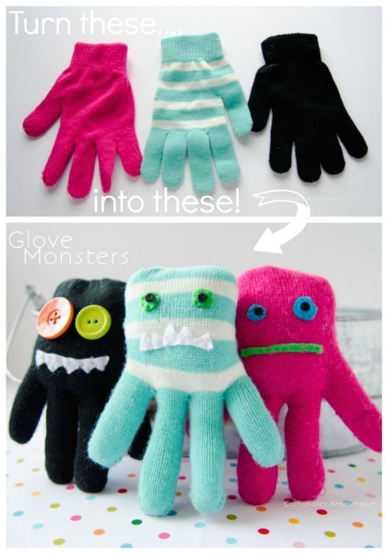 Turn single gloves into Glove Monsters! Great craft for kids! Click here for tutorial: http://www.craftaholicsanonymous.net/how-to-make-glove-monsters-tutorial #kid #craft