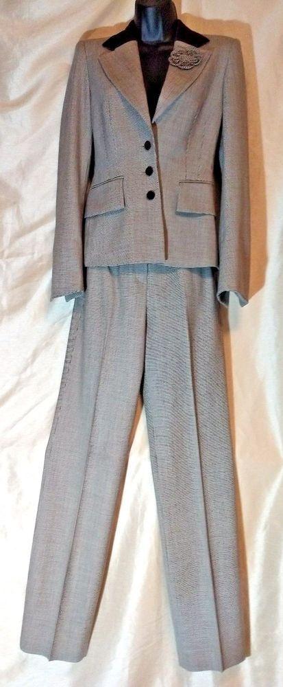 ESCADA Womens 3 Piece Suit Jacket Pants Skirt Velvet collar Houndstooth Size 34 #Escada #SkirtSuit #pantsuit