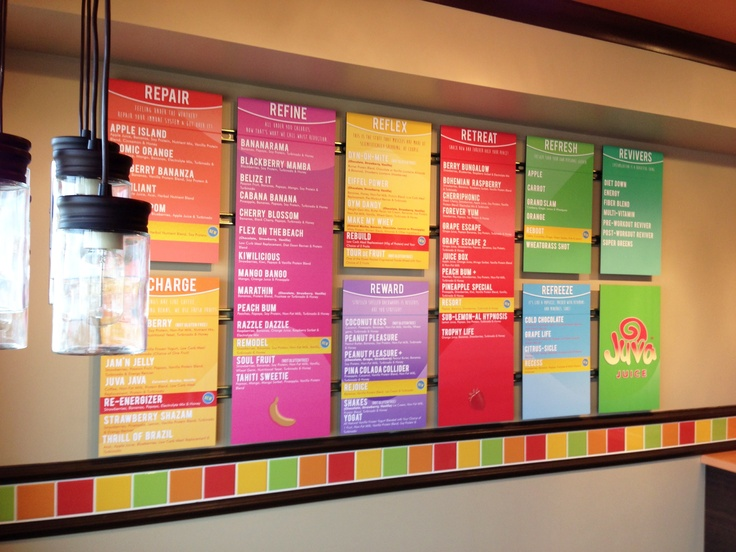 Our new menu boards we designed for Juva Juice. makes you