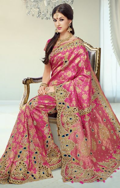 Most beautiful saree, look at those sapphire stones and cut work! Definitely the centerpiece of a wedding