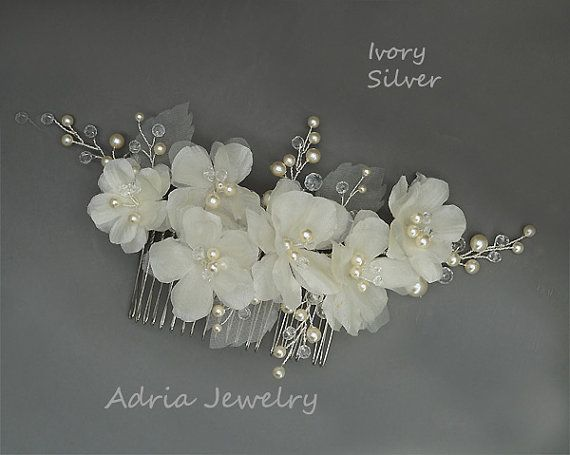 Check our Ready to Ship Pieces with great Discount !!! https://www.etsy.com/shop/adriajewelry?ref=hdr_shop_menu&section_id=20069708 ~~~~~~~~~~~~~~~~~~~~~~~~~~~~~~~~~~~~~~~~~~~~~~~~~~~~~~~~~~~~~~  ***Metal available in Gold ans Silver. Flowers available in Off White and Ivory*** ***Color and shape can be customized*** ***Can be made into a headband, clip or brooch*** Materials: swarovski pearls, crystals, Non tarnish silver plate wire, silver color metal comb, pure silk fabrics. Dimensions…