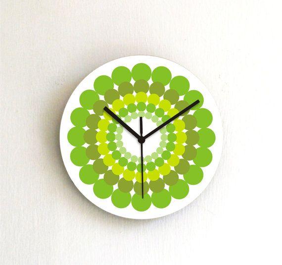 Wand Uhr Avocado Zitrone Minze Olive Pistazien grün Polka Dots geometrischen Dekor Küche Wand Uhr Wohnzimmer Büro Uhr Weihnachtsgeschenk