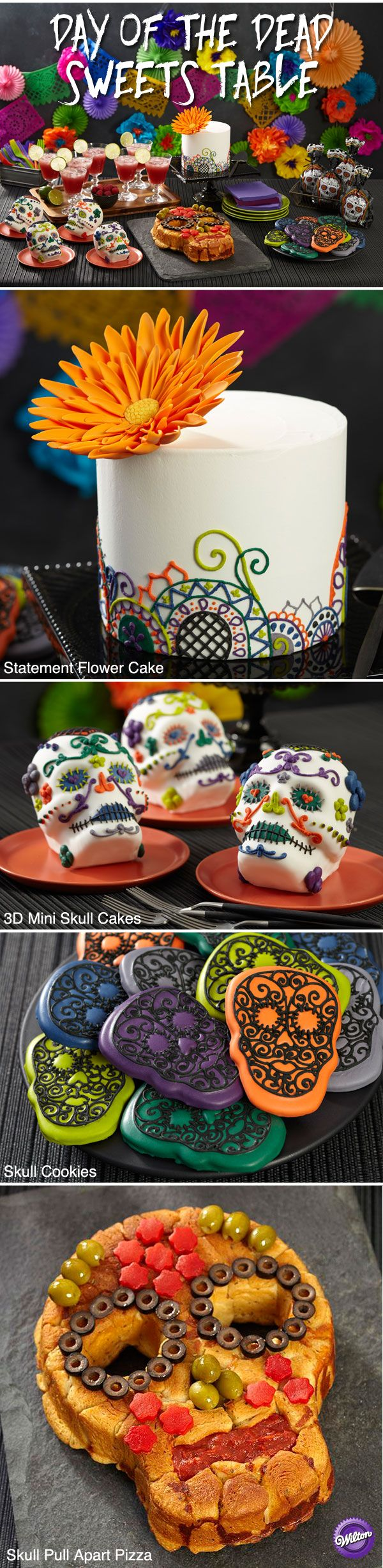 Plan a Day of the Dead themed sweets table for your Halloween party complete with a statement flower cake, 3D mini skull cakes, skull cookies and a skull pull-apart pizza!