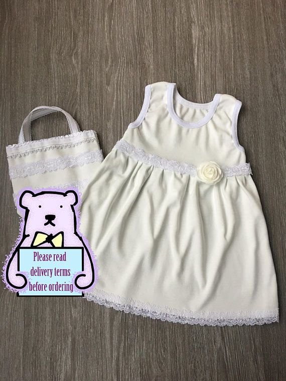 Baby girl christening dress and bag set with a rose Baptism