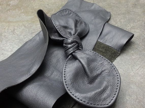 genuine womens soft leather dark grey belt with bow by kwanae, $15.00