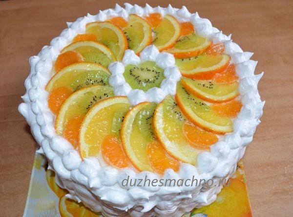 Бисквитный торт с фруктами | Вкусные рецепты