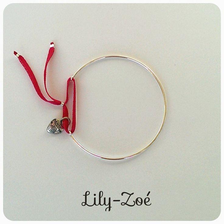 Bracelet jonc ouvert et son cœur en argent 925 via La Boutique de Lily-Zoé. Click on the image to see more!