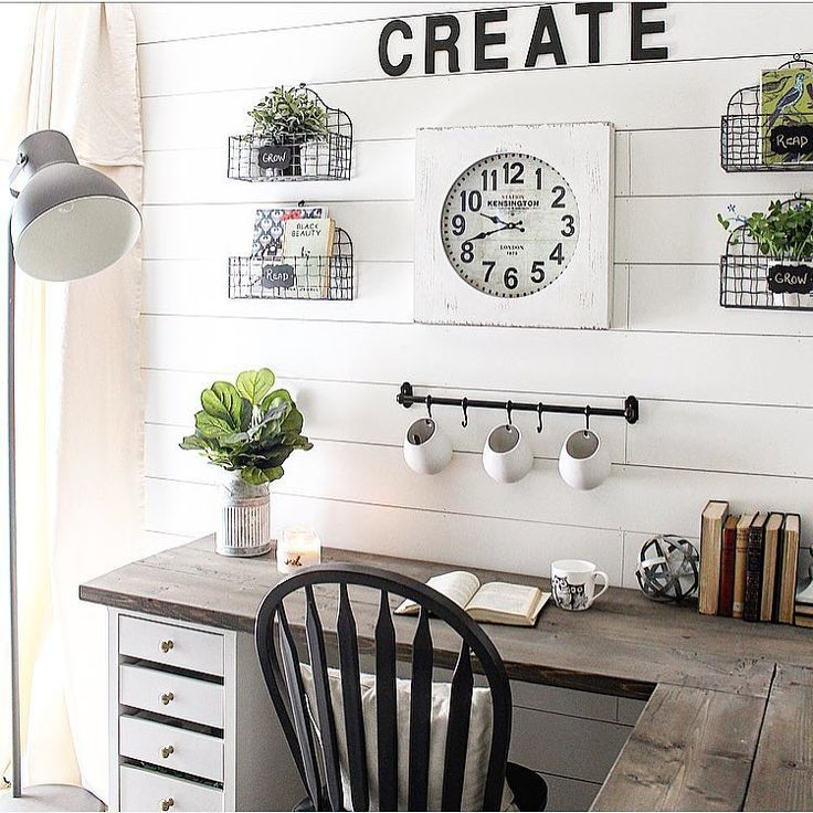 I'm taking a look back at our little office area before my husband took it over with his giant work monitors and non neutral desk accessories...how dare he right oh well thankfully I have some pretty pics to look back on it when I had my touch on it  #moveitupmonday . . . #shiplap #whitedecor #ikea #diydesk #office #officedecor #homeoffice #bhghome #neutraldecor #farmhousestyle #farmhouse #fixerupperstyle #desk #organize #workfromhome #homedecor #smallspaces