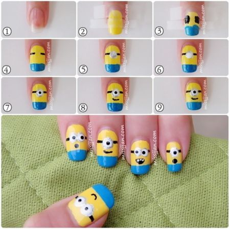 minion nails step by step tutorial #nailart #nails #polish #red - For more nail looks or to share yours, go to bellashoot.com
