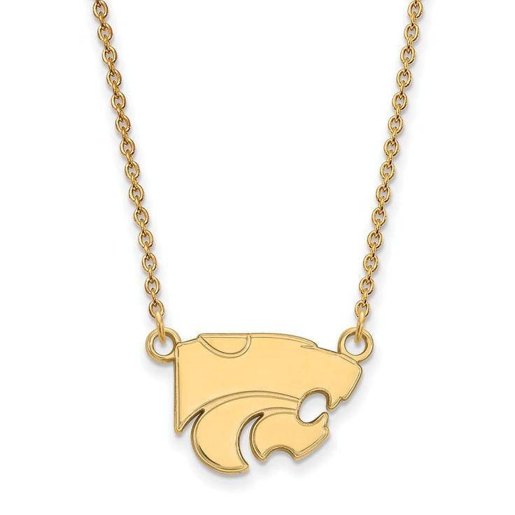 Sterling Silver w/GP LogoArt Kansas State University Sm Pendant w/Necklace