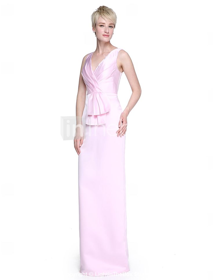 Lanting Bride® Hasta el Suelo Satén Elegante Vestido de Dama de Honor - Funda / Columna Cuello en V con Lazo(s) / Plisado 5485824 2017 – €78.39